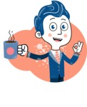 112 Blue Hand-Drawn Cartoon Character Illustrations - Shape 11