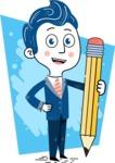 112 Blue Hand-Drawn Cartoon Character Illustrations - Shape 4