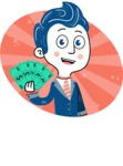 112 Blue Hand-Drawn Cartoon Character Illustrations - Shape 5