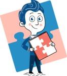 112 Blue Hand-Drawn Cartoon Character Illustrations - Shape 6