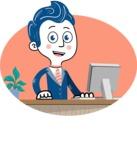 112 Blue Hand-Drawn Cartoon Character Illustrations - Shape 8