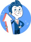 112 Blue Hand-Drawn Cartoon Character Illustrations - Shape 9