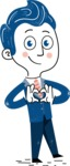 112 Blue Hand-Drawn Cartoon Character Illustrations - Show Love