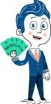 112 Blue Hand-Drawn Cartoon Character Illustrations - Hand-drawn cartoon character holding money illustration