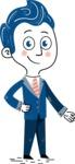 112 Blue Hand-Drawn Cartoon Character Illustrations - Show