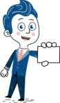 112 Blue Hand-Drawn Cartoon Character Illustrations - Sign 1