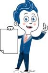 112 Blue Hand-Drawn Cartoon Character Illustrations - Sign 2