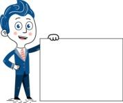 112 Blue Hand-Drawn Cartoon Character Illustrations - Sign 8