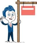 112 Blue Hand-Drawn Cartoon Character Illustrations - Sign 9