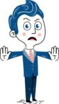 112 Blue Hand-Drawn Cartoon Character Illustrations - Stop 2