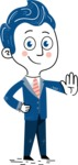 112 Blue Hand-Drawn Cartoon Character Illustrations - Hand-drawn cartoon character making a stop sign with a hand illustration