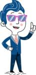 112 Blue Hand-Drawn Cartoon Character Illustrations - Sunglasses