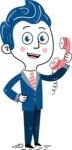 112 Blue Hand-Drawn Cartoon Character Illustrations - Hand-drawn cartoon character talking on a phone illustration