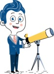 112 Blue Hand-Drawn Cartoon Character Illustrations - Telescope