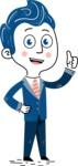 112 Blue Hand-Drawn Cartoon Character Illustrations - Hand-Drawn Cartoon Character making Thumb Up Illustration