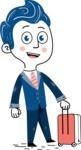 112 Blue Hand-Drawn Cartoon Character Illustrations - Travel 1
