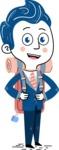 112 Blue Hand-Drawn Cartoon Character Illustrations - Travel 2