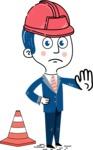 112 Blue Hand-Drawn Cartoon Character Illustrations - Under Construction 1