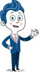 112 Blue Hand-Drawn Cartoon Character Illustrations - Wave