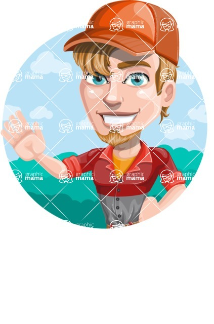 Auto Mechanic Guy Cartoon Vector Character AKA Kyle the Problem Solver - Sticker Template