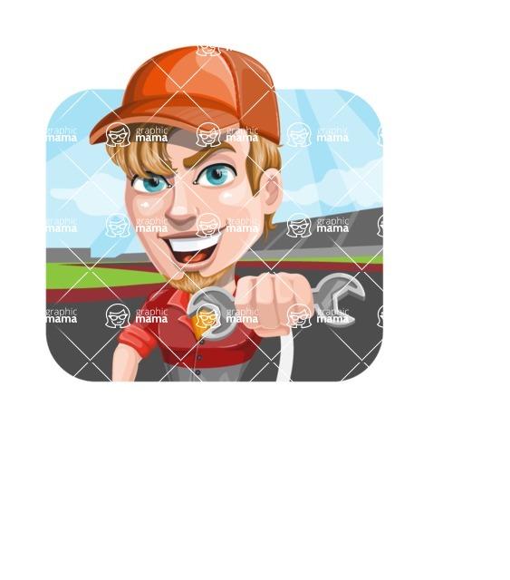 Auto Mechanic Guy Cartoon Vector Character AKA Kyle the Problem Solver - Rally Mechanic Illustration