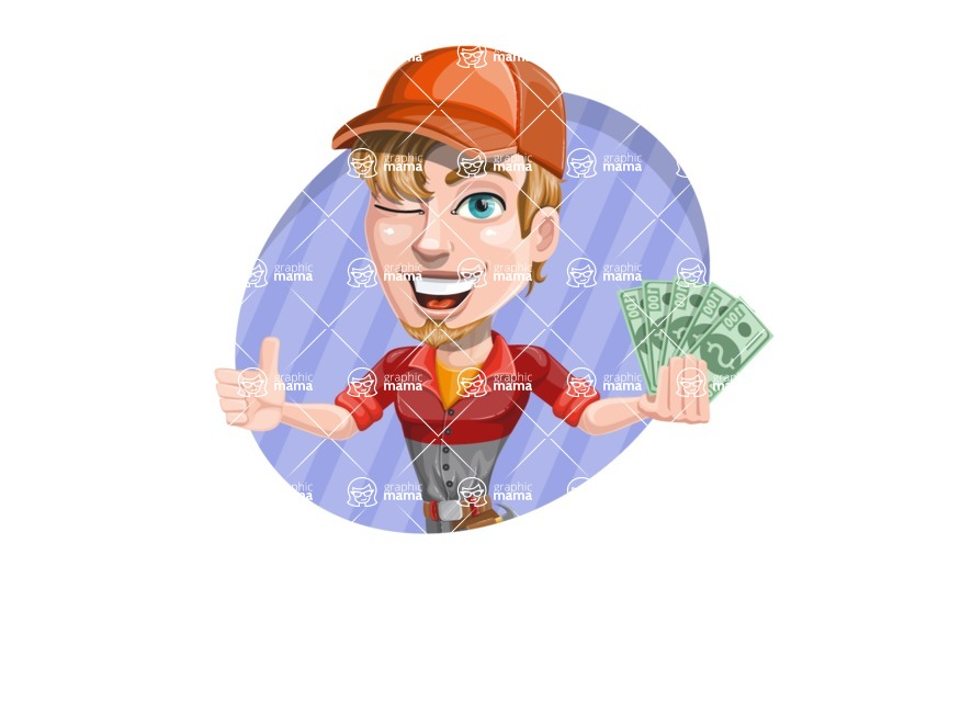 Auto Mechanic Guy Cartoon Vector Character AKA Kyle the Problem Solver - Holding Money with Cool Background Illustration