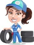 Handy Mechanic Woman Cartoon Vector Character AKA Nicole Fix-it-all - As Car Mechanic with Vehicle Tires