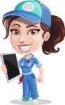 Handy Mechanic Woman Cartoon Vector Character AKA Nicole Fix-it-all - Being Modern Technician with Smart Tech