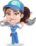 Handy Mechanic Woman Cartoon Vector Character AKA Nicole Fix-it-all - Being Strong