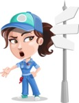 Handy Mechanic Woman Cartoon Vector Character AKA Nicole Fix-it-all - Choosing Way with Street Sign pointing in all directions
