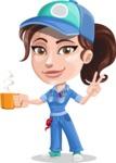 Handy Mechanic Woman Cartoon Vector Character AKA Nicole Fix-it-all - Drinking Cup of Coffee