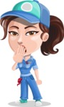 Handy Mechanic Woman Cartoon Vector Character AKA Nicole Fix-it-all - Feeling Bored and Yawning