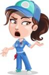 Handy Mechanic Woman Cartoon Vector Character AKA Nicole Fix-it-all - Feeling Confused