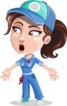Handy Mechanic Woman Cartoon Vector Character AKA Nicole Fix-it-all - Feeling Lost with Sad Face