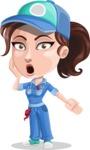Handy Mechanic Woman Cartoon Vector Character AKA Nicole Fix-it-all - Feeling Shocked