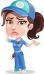 Handy Mechanic Woman Cartoon Vector Character AKA Nicole Fix-it-all - Feeling Sorry