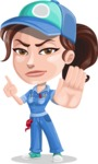 Handy Mechanic Woman Cartoon Vector Character AKA Nicole Fix-it-all - Finger pointing with angry face
