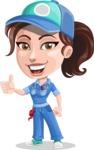 Handy Mechanic Woman Cartoon Vector Character AKA Nicole Fix-it-all - Giving Thumbs Up
