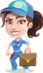 Handy Mechanic Woman Cartoon Vector Character AKA Nicole Fix-it-all - Going on a Meeting