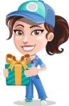 Handy Mechanic Woman Cartoon Vector Character AKA Nicole Fix-it-all - Holding a Gift