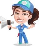 Handy Mechanic Woman Cartoon Vector Character AKA Nicole Fix-it-all - Holding a Loudspeaker