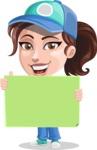 Handy Mechanic Woman Cartoon Vector Character AKA Nicole Fix-it-all - Holding Big Blank Sign and Smiling