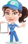 Handy Mechanic Woman Cartoon Vector Character AKA Nicole Fix-it-all - Holding Blank Notepad