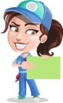 Handy Mechanic Woman Cartoon Vector Character AKA Nicole Fix-it-all - Holding Blank Presentation Sign