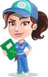 Handy Mechanic Woman Cartoon Vector Character AKA Nicole Fix-it-all - Holding Book