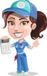 Handy Mechanic Woman Cartoon Vector Character AKA Nicole Fix-it-all - Holding Calculator