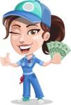 Handy Mechanic Woman Cartoon Vector Character AKA Nicole Fix-it-all - Holding Cash Money Banknotes