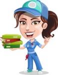 Handy Mechanic Woman Cartoon Vector Character AKA Nicole Fix-it-all - Holding Education Books