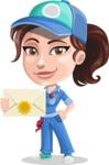 Handy Mechanic Woman Cartoon Vector Character AKA Nicole Fix-it-all - Holding Mail Envelope