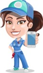 Handy Mechanic Woman Cartoon Vector Character AKA Nicole Fix-it-all - Holding Mobile Phone with Blank Screen